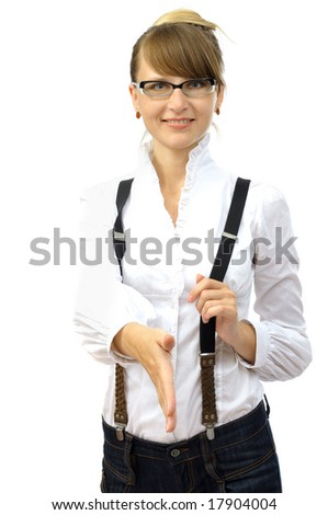 Beautiful smiling businesswoman gives hand. isolated on white - stock photo