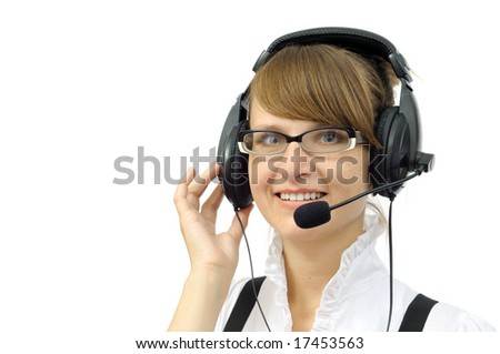 Beautiful smiling businesswoman with headphones, isolated on white - stock photo