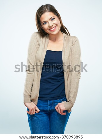 Beautiful smiling casual dressed young woman. Isolated studio portrait.  - stock photo