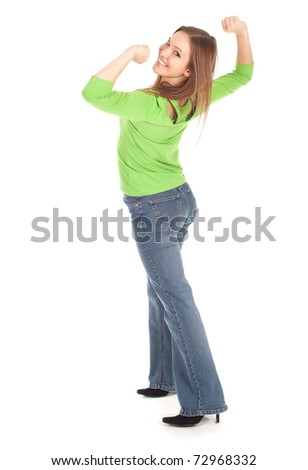 beautiful, smiling casual girl in green blouse cheering, series - stock photo