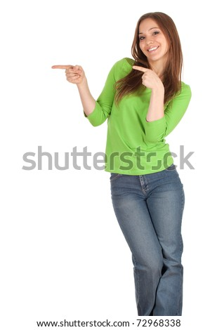 beautiful, smiling casual girl in green blouse pointing, series - stock photo