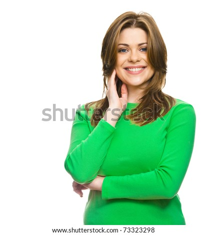 Beautiful smiling casual woman in  green, isolated on white background
