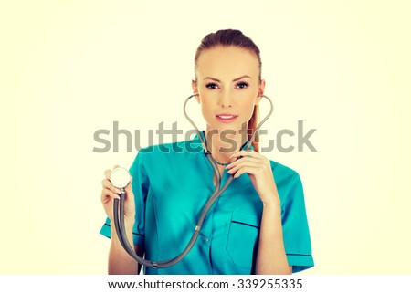 Beautiful smiling caucasian woman doctor with stethoscope. - stock photo