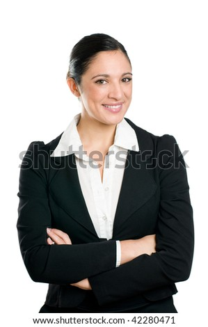 Beautiful smiling confident business woman looking at camera isolated on white background.