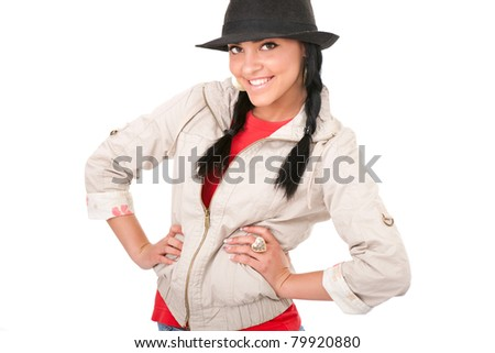 beautiful smiling cowgirl posing on white background - stock photo