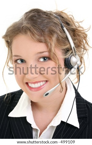 Beautiful Smiling Customer Service or Sales Representative.  Curly blonde hair and a great smile.  Shot in studio over white. - stock photo
