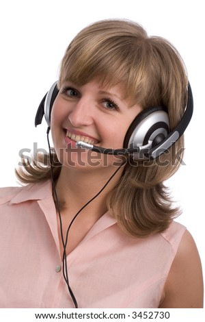 beautiful smiling customer support girl with headset, isolated on white background - stock photo