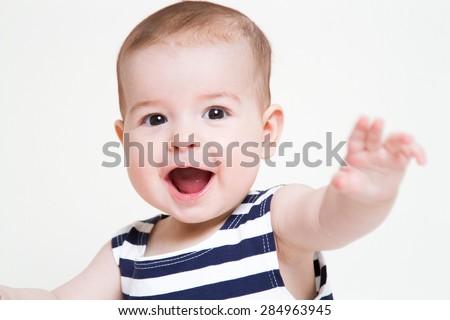 Beautiful smiling cute baby girl - stock photo