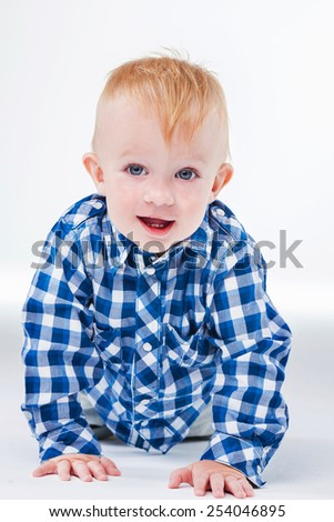 Beautiful smiling cute baby,white background - stock photo