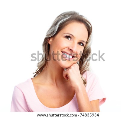 Beautiful smiling dreaming woman. Isolated over white background