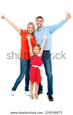 Beautiful smiling family. Father, mother and daughter. All on white background - stock photo