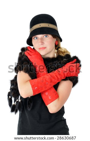 beautiful smiling girl in hat and red gloves, isolated on white - stock photo