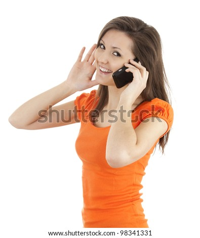 beautiful smiling girl laughing, talking on the phone - stock photo