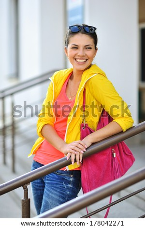 Beautiful smiling girl portrait - stock photo