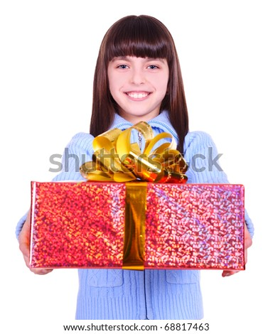 beautiful smiling girl with a gift. isolated on white - stock photo
