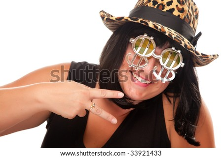 Beautiful Smiling Girl with Peace Sign, Bling-Bling Dollar Glasses and Funky Hat Isolated on a White Background. - stock photo