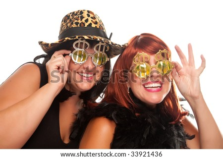 Beautiful Smiling Girls with Bling-Bling Dollar Glasses and Funky Hat Isolated on a White Background. - stock photo