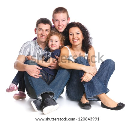 Beautiful smiling happy family of four - isolated over a white background - stock photo
