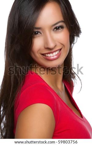 Beautiful smiling happy latin woman - stock photo