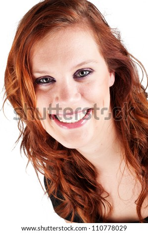 beautiful smiling happy woman isolated on white background - stock photo