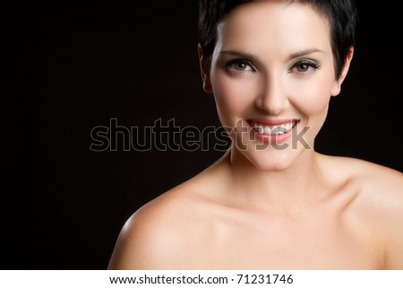 Beautiful smiling happy young woman - stock photo