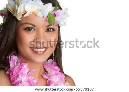 Beautiful smiling hawaiian tropical woman - stock photo