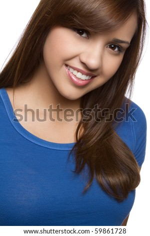 Beautiful smiling hispanic girl headshot - stock photo