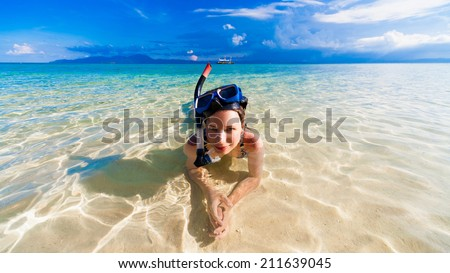 beautiful  smiling joy wonder woman blue sea with mask snorkeling philippines amazing  fresh  fantastic freedom snorkel adventure luxury coral reef background holiday Christmas spa - stock photo