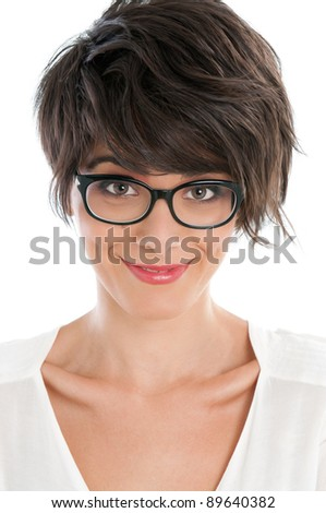 Beautiful smiling lady with satisfied funny expression  and her pair of glasses - stock photo