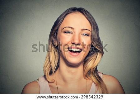 beautiful smiling laughing woman  - stock photo