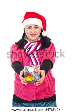 Beautiful smiling mid adult woman with Santa hat holding Christmas gift