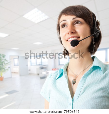 Beautiful smiling secretary portrait - stock photo