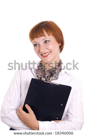 Beautiful smiling secretary with a folder.