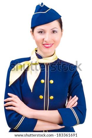 Beautiful smiling stewardess isolated on a white background - stock photo