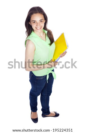 Beautiful smiling student girl on white background