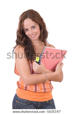Beautiful smiling student - over a white background