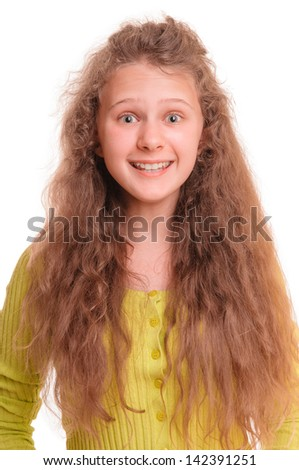 Beautiful smiling teenage girl. isolated on white background - stock photo
