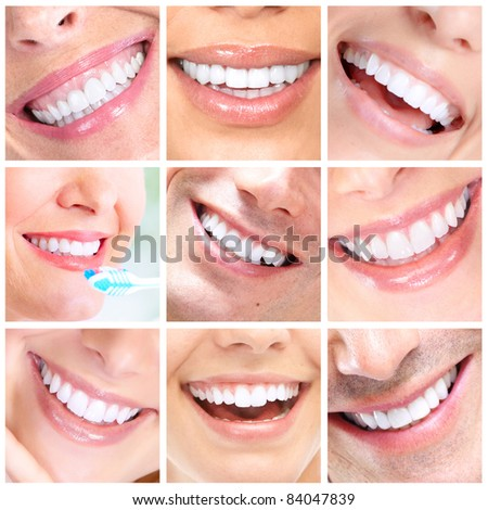 Beautiful smiling woman and men. Dental health.