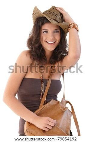Beautiful smiling woman at summertime, looking at camera.? - stock photo