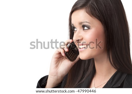 Beautiful smiling woman calling by phone