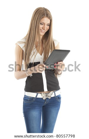 Beautiful Smiling Woman Communicate With Tablet Computer, isolate on white - stock photo