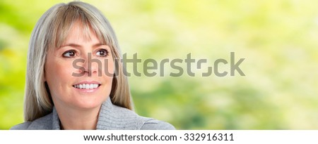 Beautiful smiling woman face over banner background.