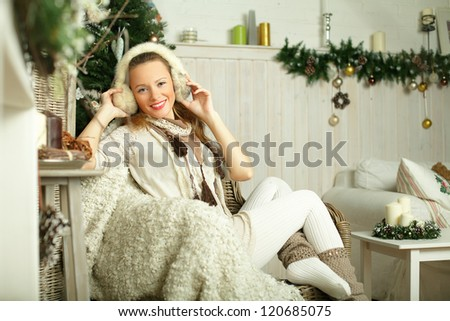Beautiful smiling woman, fashion model - stock photo