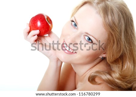 beautiful smiling woman holding red apple, mid adult female face and shoulders closeup, isolated on white background