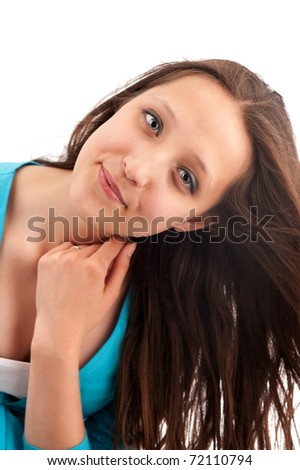 Beautiful Smiling Woman isolated on white - stock photo