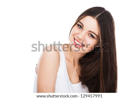 Beautiful smiling woman isolated on white background - stock photo