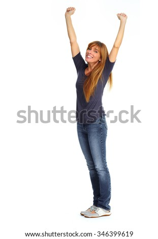 Beautiful smiling woman isolated over white background. - stock photo