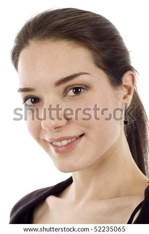 Beautiful smiling woman isolated over white background - stock photo