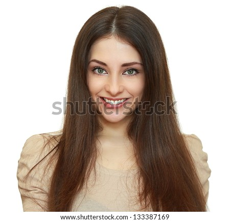 Beautiful smiling woman looking happy. Closeup isolated portrait - stock photo
