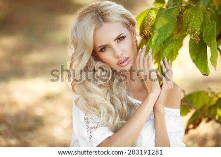 Beautiful smiling woman outdoors portrait beauty girl face summer, blonde female portrait, elegant lady in park, skin care and body care concept, soft focus at sunset, series